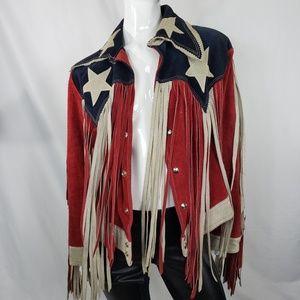 Vintage 60s red white blue suede fringe jacket M